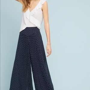 Anthropologie Wide Leg Kingston polka dot pants